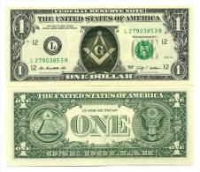 FRANC-MACON VRAI BILLET de 1 DOLLAR US ! FREEMASON Collection Franc-Ma�onnerie Ma�onnique 1