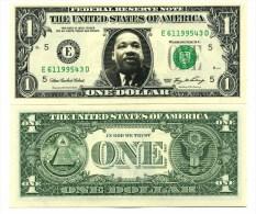 MARTIN LUTHER KING - VRAI BILLET DOLLAR US ! Collection Histoire Etats Unis d'Am�rique Personnalit� Droits de l'Homme