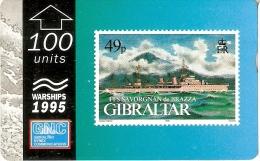 Nº39 TARJETA DE GIBRALTAR DE UN SELLO CON UN BARCO FLL SAVORGNAN DE BRAZZA (STAMP-SHIP) - Gibraltar