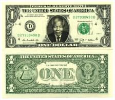 NELSON MANDELA VRAI BILLET de 1 DOLLAR US! Collection Histoire Afrique du Sud Pr�sident Apartheid Prix Nobel Paix Droit