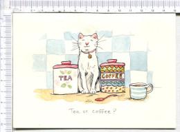 """CHAT Entre La Boîte De   """" TEA """"  Et   COFFEE    -  TEA Or   COFFEE   -      Illustration  -    Carte Double - Katzen"""