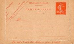 TB 191 - Entier Postal Type Semeuse - Carte Lettre Neuve - Postal Stamped Stationery
