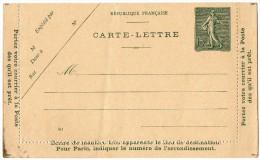 TB 192 - Entier Postal Type Semeuse Lignée - Carte Lettre Neuve - Postal Stamped Stationery