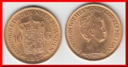 QUALITY **** PAYS-BAS - NETHERLANDS - 10 GULDEN 1917 WILHELMINA I - OR - GOLD **** EN ACHAT IMMEDIAT - 10 Gulden