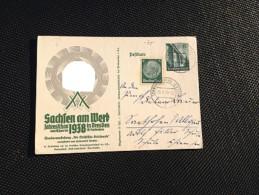 Propagandapostkarte Postkarte Ganzsache Sachsen Am Werk 1938 Jahresschau 3.Reich Original - Alemania