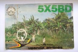 QSL RADIO AMATEUR CARD-UGANDA AIRLINES,THE FLYING CRANE - Radio Amateur
