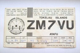 QSL RADIO AMATEUR CARD-NEW ZEELAND,TOKELAU ISLANDS,ATAFU - Radio Amateur