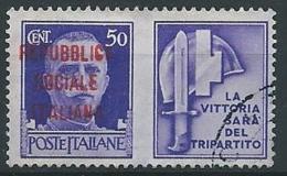 1944 RSI USATO PROPAGANDA DI GUERRA 50 CENT - ED824-7 - 4. 1944-45 Repubblica Sociale