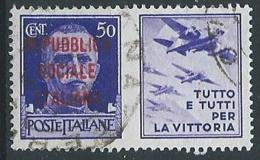 1944 RSI USATO PROPAGANDA DI GUERRA 50 CENT - ED824-4 - Propaganda Di Guerra