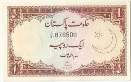 Pakistan Old 1re Banknote Signature Is Abdur Rauf - Pakistán