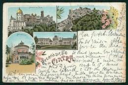 1898 Postal Tipo Gruss RECORDAÇAO De CINTRA (Sintra C/Monserrate, Seteais, Etc) PORTUGAL Old Litho Postcard - Lisboa