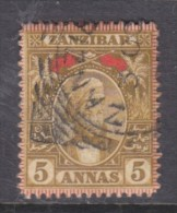 Zanzibar: Sultan Seyyid Hamid-bin-Thwain  1896, 5 Annas Red & Bistre, Used - Zanzibar (...-1963)