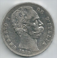 Umberto Ier RE D´Italia - 5 Lires - 1879 - 1878-1900 : Umberto I