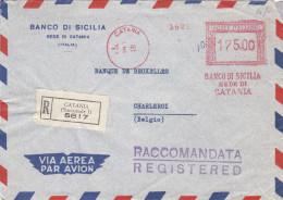 Italie - Lettre Recommandée De 1955 - EMA - Empreintes Machines - Oblitération Catania - Exp Vers La Belgique - Banque - Machine Stamps (ATM)