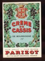 Etiquette  De Crème De  Cassis  De Bourgogne  -  Parizot  à  Nuits Saint Georges  (21) - Labels
