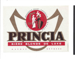 Etiquette De  Bière Blonde  -   Princia  -  Brasserie Saint Arnould  à  Mons En Pévele  (59) - Bière