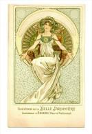 """MUCHA Alphonse Carte publicitaire Souvenir de la Belle Jardini�re Succursale d'Angers """"Jeune fille au Tr�ne"""""""
