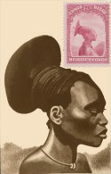 1931 BELGIAN CONGO BELGE :  SCENES = Mangbetu Woman Scott�146 C.O.B. 175 + MAXIPRINT PHOTO CARD