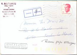 4cp-108: RETOUR A L´ENVOYEUR /... + Etiq. Inconue /...: N° 2203:  QUIVRAIN  >< FORCHIES : D 6150 23.03.87 - 1981-1990 Velghe