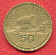 F4364 / - 50 Drachmai - 1988 - Greece Grece Griechenland Grecia - Coins Munzen Monnaies Monete - Grèce