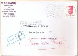 4cp-110: RETOUR A L´ENVOYEUR /... + Etiq. Décédé /...: N° 2203:  QUIVRAIN  >< LEVAL-TRAHEGNIES / F 7150 10.04.87 - 1981-1990 Velghe