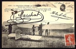 CPA ANCIENNE- FRANCE- MONOPLAN BLÉRIOT MONTÉ PAR ALFRED-LEBLANC- TRES GROS PLAN ANIMÉ- PORTRAIT SIGNÉ- - 1914-1918: 1. Weltkrieg