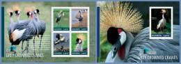ugn14301ab Uganda 2014 Bird Watching Grey Crowned Cranes 2 s/s