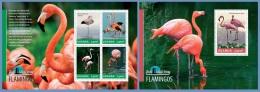 ugn14302ab Uganda 2014 Bird Watching Flamingos 2 s/s