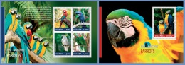 ugn14304ab Uganda 2014 Bird Watching Parrots 2 s/s