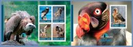ugn14306ab Uganda 2014 Bird Watching Vultures 2 s/s