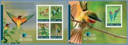 ugn14310ab Uganda 2014 Bird Watching Bee - Eaters 2 s/s