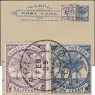 Samoa 1900. Carte, Entier Postal. Timbre « Palmiers » à 1 Penny, Timbre Similaire à ½ Penny Ajouté. Oblitération De Apia - Samoa