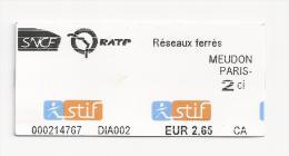 Ticket SNCF RATP. (Voir commentaires)