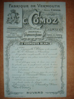 Ancien Buvard C. COMOZ Fabrique De Vermouth - Chambery Savoie - Liqueur & Bière