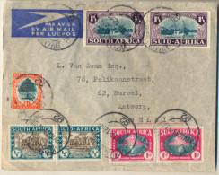 4cp-117: N° 108 & 111 +109 & 112 + 110 & 113 + 6d / Op Brief >  Antwerp JOHANNESBURG 92  12.VIII.39 - Non Classés