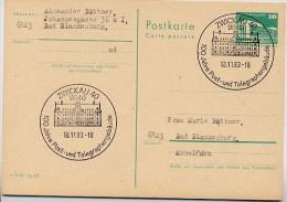 100. J. POST- TELEGRAPHENGEBÄUDE Zwickau 1983 Auf DDR P 84 Postkarte - Post