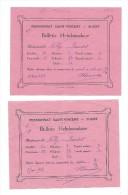 SUGNY: Pensionnat Saint-Vincent, 2 Bulletins Hebdomadaires 1928/1929 - Diplômes & Bulletins Scolaires
