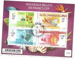BLOC DES 4 TIMBRES  NOUVEAUX BILLETS DE BANQUE   (clasbleu) - Oblitérés