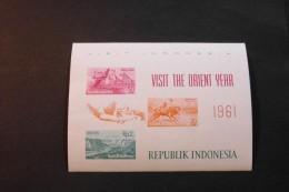 Indonesia Bull Races Toradja Houses Buffalo Hole Visit The Orient Year Souvenir Sheet Block 1961 A04s - Indonesië