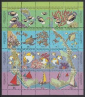 Cocos MNH Scott #292f Sheet Of 20 4 Strips Of 5 Each: Triggerfish, Turtles, Butterfly Fish, Sailboats - Cocos (Keeling) Islands