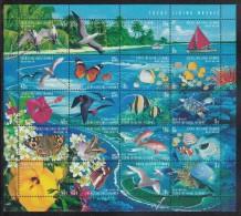 Cocos MNH Scott #331 Sheet Of 20 Flora And Fauna: Birds, Butterflies, Fish, Turtles - Cocos (Keeling) Islands