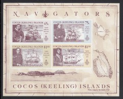 Cocos MNH Scott #221a Souvenir Sheet Of 4 Captains And Ships: Keeling, Fitzroy, Belcher, Fremantle - Cocos (Keeling) Islands