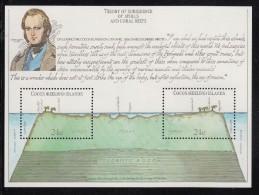 Cocos MNH Scott #81 Souvenir sheet of 2 Charles Darwin, atoll