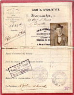 CARTE IDENTITE INVALIDE GUERRE 1914 1918 BELGE BELGIQUE