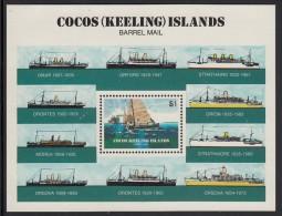 Cocos MNH Scott #114 Souvenir Sheet $1 Barrel Mail Recovery - Barrel Mail - Cocos (Keeling) Islands