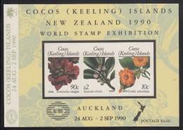Cocos MNH Scott #217 Souvenir Sheet Of 3 Flowering Plants - World Stamp Exhibition Auckland NZ 1990 - Cocos (Keeling) Islands