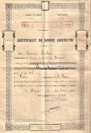 CERTIFICAT BONNE CONDUITE BASE STOCKAGE AIR BERGERAC 1943 EQUIPE SPECIALE