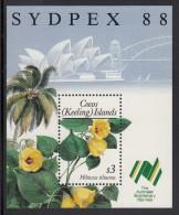 Cocos MNH Scott #199 Souvenir Sheet  $3 Hibiscus - SYDPEX 88 - Cocos (Keeling) Islands