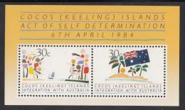 Cocos MNH Scott #125 Souvenir Sheet Of 2 Integration With Australia - Cocos (Keeling) Islands