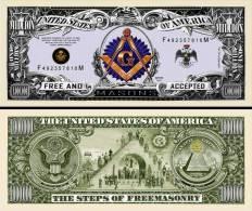 FRANC-MACONS BILLET COMMEMORATIF 1 MILLION DOLLAR US ! FREEMASON Collection Franc-Ma�onnerie Curiosit� Ma�onnique